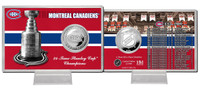 Montreal Canadians Stanley Cup History Silver Coin Card