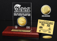 New England Patriots 4-time Super Bowl Champions Gold Coin Etched Acrylic