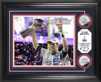 Tom Brady Super BowlxLIX Champion Trophy Silver Coin Photo Mint