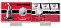 New Jersey Devils Stanley Cup History Silver Coin Card