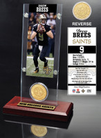 Drew Brees Ticket & Bronze Coin Acrylic Desk Top
