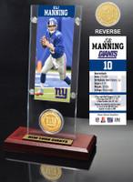 Eli Manning Ticket & Bronze Coin Acrylic Desk Top