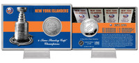 New York Islanders Stanley Cup History Silver Coin Card