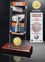 New York Islanders 5x Stanley Cup Champions Ticket and Bronze Coin Acrylic Display