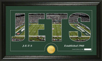 New York Jets Silhouette Bronze Coin Panoramic Photo Mint