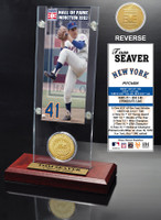 Tom Seaver Hall of Fame Ticket & Bronze Coin Acrylic Desk Top