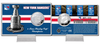 New York Rangers Stanley Cup History Silver Coin Card