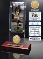 Whitey Ford Hall of Fame Ticket & Bronze Coin Acrylic Desk Top