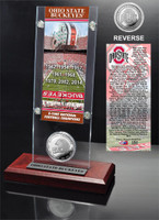 *Ohio State Buckeyes 8-Time National Champions Ticket & Minted Coin Acrylic Desk Top