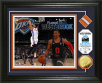 Russell Westbrook 2015 All-Star Game Used Net Gold Coin Photo Mint