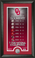 Oklahoma Sooners 7-Time National Championship Legacy Supreme Silver Coin Panoramic Photo Mint LE 5000