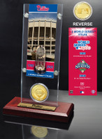Philadelphia Phillies World Series Ticket & Bronze Coin Acrylic Desk Top