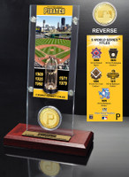 Pittsburgh Pirates World Series Ticket & Bronze Coin Acrylic Desk Top