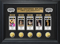 San Antonio Spurs 5 Time Champions Deluxe Gold Game Coin and Ticket Collection