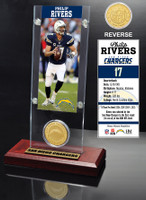 Phillip Rivers Ticket & Bronze Coin Acrylic Desk Top