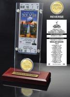 Seattle Seahawks Super Bowl 48 Champions Ticket & Bronze Coin Desktop Acrylic
