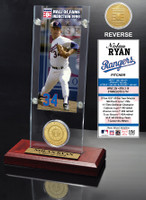 Nolan Ryan Hall of Fame Ticket & Bronze Coin Acrylic Desk Top
