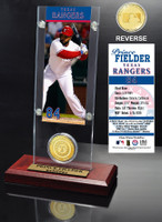 Prince Fielder Ticket & Bronze Coin Acrylic Desktop
