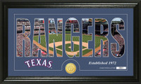 Texas Rangers Silhouette Bronze Coin Panoramic Photo Mint