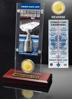 Toronto Maple Leafs 13x Stanley Cup Champions Ticket and Bronze Coin Acrylic Display