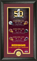 *Washington Redskins Super Bowl 50th Anniversary Bronze Coin Supreme Photo Mint