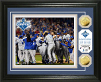 "**Kansas City Royals 2015 World Series Champions ""Celebration"" 2pc Gold Coin Photo Mint"