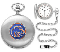 Boise State Broncos Silver Plated Pocket Watch