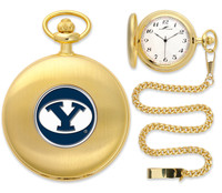 BRIGHAM YOUNG COUGARS Gold Plated Pocket Watch