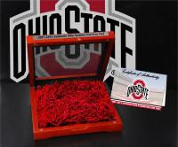"*Ohio State Buckeyes Authentic ""End Zone"" Field Turf Cherry Wood Box Display"