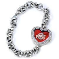 **Ohio State Buckeyes Ladies Heart Bracelet Watch - Red Dial
