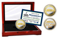 Seattle Seahawks Super Bowl 48 Champions Official Two-Tone Mint Coin w/Cherry Wood Glass Display LE