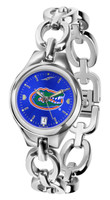 Florida Gators Ladies Silver Eclipse Link AnoChrome Watch - Blue Dial