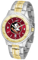 Florida State Seminoles Competitor 2-Tone 23k Gold AnoChrome Stainless Steel Watch - Red Dial (Men's or Women's)