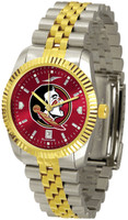 Florida State Seminoles Executive  2-Tone 23k Gold AnoChrome Stainless Steel Watch - Red Dial (Men's or Women's)