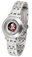 Florida State Seminoles Ladies Silver Stainless Steel Dynasty Watch - White Dial