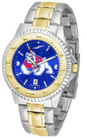 Fresno State Bulldogs Competitor 2-Tone 23k Gold AnoChrome Stainless Steel Watch - Blue Dial (Men's or Women's)