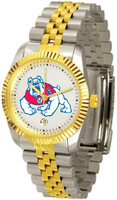 Fresno State Bulldogs Executive  2-Tone 23k Gold Stainless Steel Watch - White Dial (Men's or Women's)