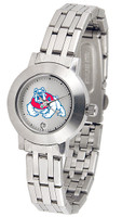 Fresno State Bulldogs Ladies Silver Stainless Steel Dynasty Watch - White Dial