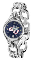 Gonzaga Bulldogs Ladies Silver Eclipse Link AnoChrome Watch - Red Dial