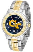 Georgia Tech Yellow Jackets Competitor 2-Tone 23k Gold AnoChrome Stainless Steel Watch - Red Dial (Men's or Women's)