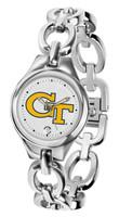 Georgia Tech Yellow Jackets Ladies Silver Eclipse Link Watch - White Dial
