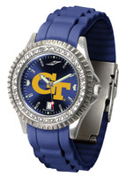 Georgia Tech Yellow Jackets Sparkle AnoChrome Sport  Watch - Red Silicone Band