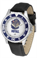Georgetown Hoyas Competitor Leather Watch White Dial (Men's or Women's)