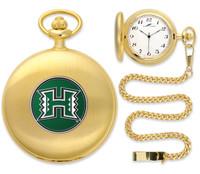 Hawaii Warriors Gold Pocket Watch w/Chain