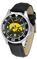 Iowa Hawkeyes Competitor Leather AnoChrome Leather Watch - Red Dial w/Colored Bezel (Men's or Women's)