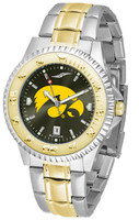 Iowa Hawkeyes Competitor 2-Tone 23k Gold AnoChrome Stainless Steel Watch - Red Dial (Men's or Women's)