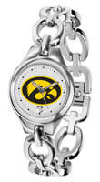 Iowa Hawkeyes Ladies Silver Eclipse Link Watch - White Dial