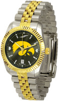 Iowa Hawkeyes Executive  2-Tone 23k Gold AnoChrome Stainless Steel Watch - Red Dial (Men's or Women's)