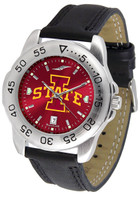 Iowa State Cyclones Sport Leather AnoChrome Watch Red Dial (Men's or Women's)