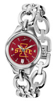 Iowa State Cyclones Ladies Silver Eclipse Link AnoChrome Watch - Red Dial